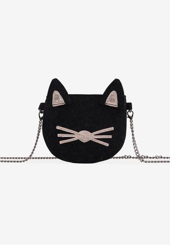Gingersnaps grey Girls Cat Crossbody Bag With Metal Chain Strap 34B2BKC08883DEGS_1