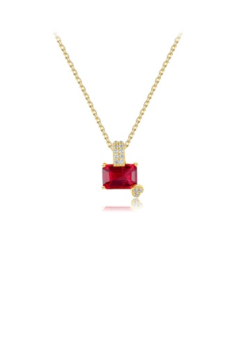 Glamorousky white 925 Sterling Silver Plated Gold Fashion Simple Geometric Pendant with Red Cubic Zirconia and Necklace 81B17AC1FDCC76GS_1