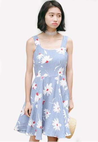 b8baf68d51 Shopsfashion blue Floral Printed Fit And Flare Dress SH088AA0RWZAMY 1