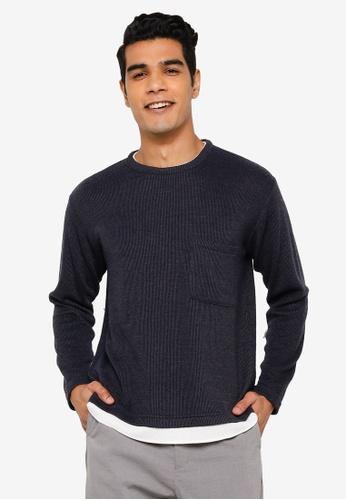 RAGEBLUE navy Long Sleeve Knit T-Shirt D4C8EAA4E6C577GS_1