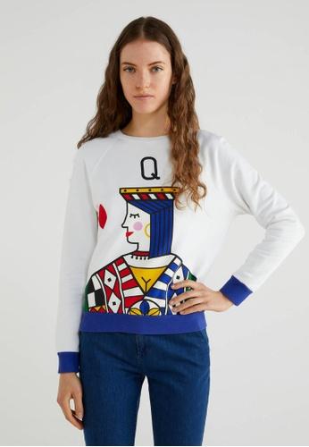 United Colors of Benetton 白色 撲克牌膠印棉質長袖上衣 C1628AAB8AAB7DGS_1