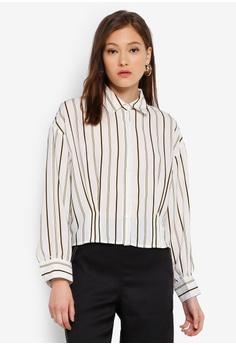 25e93e751b69b9 BYSI white Stripe Puff Sleeve Shirt 2161DAA4C2B077GS_1