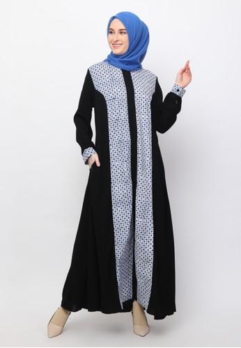 Karina Design blue Monalisa Abaya Kawung Kecil Batik Dress B30FFAA91B5336GS_1