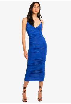 6e9c5085b1b MISSGUIDED blue Slinky Wrap Ruched Maxi Dress C014FAA61BA244GS 1