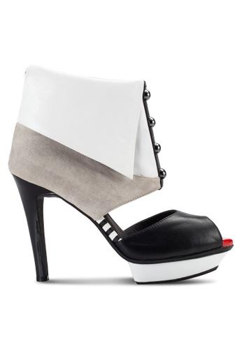 House of Avenues black Platform Peep Toe Heels HO685SH01CBAMY_1
