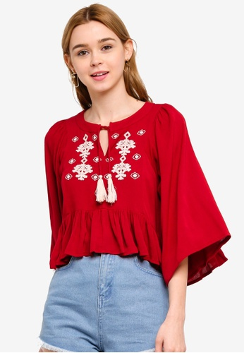 63380122c52 Something Borrowed red Bell Sleeves Crop Top With Embroidery  CD5F0AA7BB1CEFGS_1