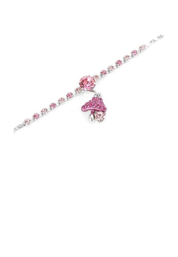 Glamorousky pink Fancy Bracelet with Mushroom Charm in Pink Austrian Element Crystals AF3A4AC08B412DGS_1