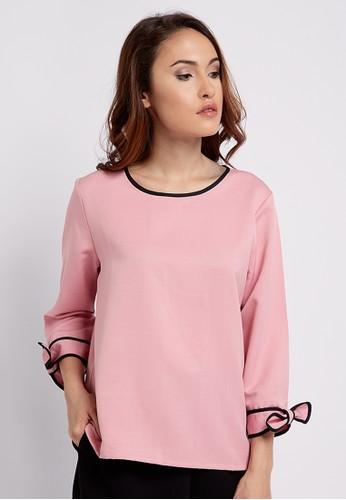 The B Club pink List Ribbon Shirt D4629AA63BA4D4GS_1