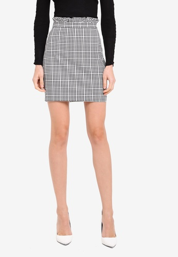River Island black and white Gingham Paperbag Waist Mini Skirt RI009AA0SZG4MY_1
