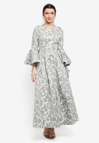 Zalia green Jacquard Frill Sleeve Dress CC2DDAA42977CBGS_1