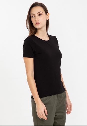 Bossini black Short Sleeve Solid Round Neck Tee A9D68AA75AD9EBGS_1