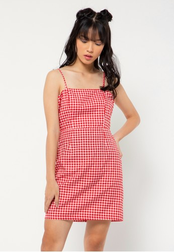 COLORBOX red Gingham Dress 7299CAA533F2F5GS_1