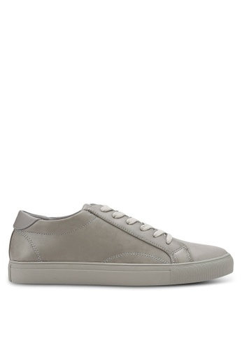 ZALORA grey Essential Faux Leather Sneakers DD969SH58C632CGS_1