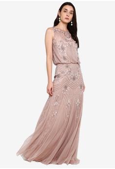 4ba82afb9955 Lace & Beads beige Macy Maxi Dress 4CEB4AA2645C17GS_1