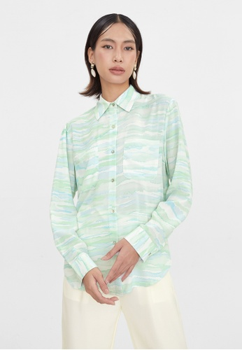 Pomelo blue Marble Print Button Up Shirt - Blue 7697CAAACE0ADAGS_1