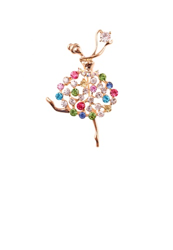 Glamorousky silver Fashion Creative Plated Gold Dancing Girl Brooch with Colorful Cubic Zirconia FD149ACE308ABAGS_1
