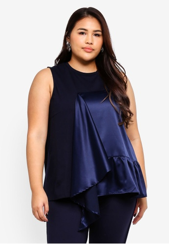 LOST INK PLUS navy Sleeveless Top With Satin Frill 158F5AA17679B1GS_1