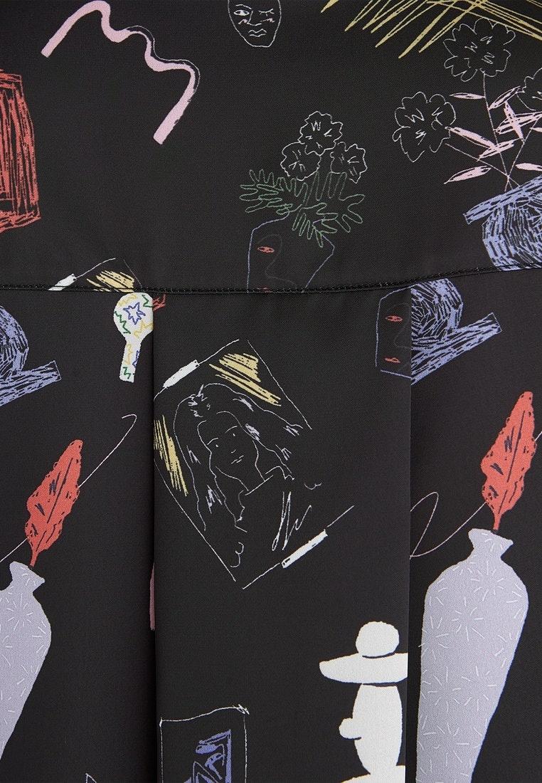 Black Black Button Art Up Illustration Shirt Pomelo ROfUw7q