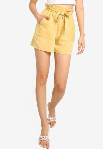 ZALORA BASICS yellow Paperbag Shorts B4B64AA15C4D8BGS_1