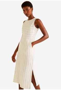 70a22087dd0 Mango beige Mixed Striped Dress 2F280AA5A38462GS 1