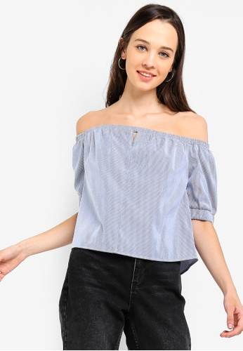 Something Borrowed blue Off Shoulder Bow Tie Top CD274AA5FD67EFGS_1