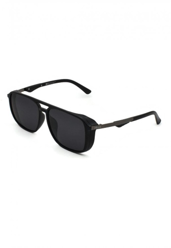 jojo black Rectangular Aviator Thick Side Polarized Sunglasses CF164GL7E6C484GS_1