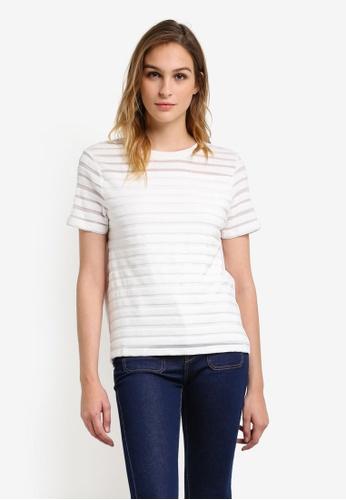 French Connection white Bernice Velvet Stripe Jersey T-Shirt FR878AA0RO7XMY_1