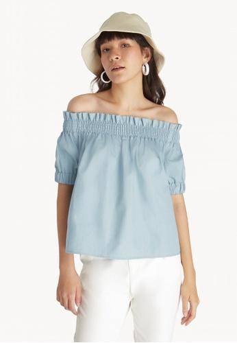 6c9bfcbd4fbbe Buy Pomelo Off Shoulder Puff Sleeve Top - Blue Online on ZALORA ...