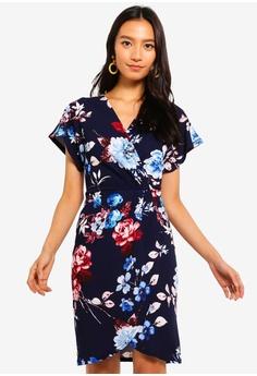 5a7cb0b38e1 Mela London navy Wrap Effect Dress 28DD4AADE38A09GS 1