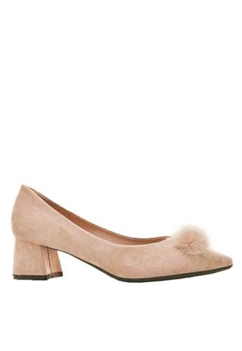 Twenty Eight Shoes beige Fur Bow Block Heel 999-31 023F4SH46E082DGS_1