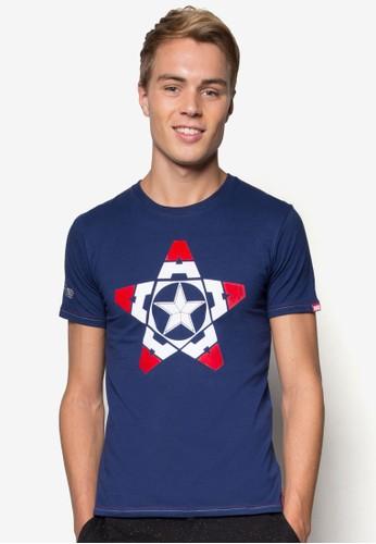 漫威美esprit台北門市國隊長圖案TEE, 服飾, T恤
