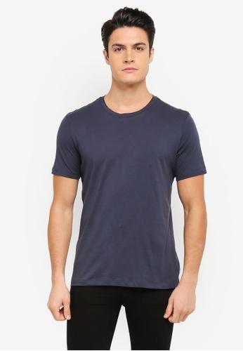 MANGO Man blue and navy Essential Cotton T-Shirt MA449AA0T1EWMY_1
