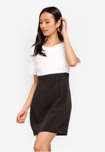 ZALORA black and white V-Neck Short Sleeves Sheath Dress CDF82AA4CA06AFGS_1