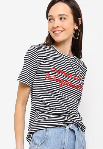 Something Borrowed 海軍藍色 條紋印花T恤 ED448AADBECE5FGS_1