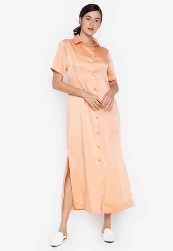 the___edit orange Daria Cuban Collar Maxi Dress A52EAAABDAABCDGS_1