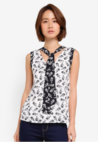 ZALORA white Ribbon Front Top 33041AA8BD3A31GS_1