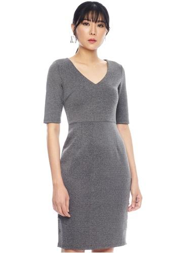 Nichii grey Buttoned Sheath Midi Dress ADBEEAAF1FB5BCGS_1