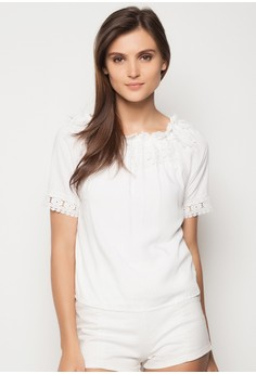 Scoop Neck Top with Lace Applique