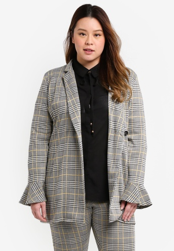 ELVI grey Plus Size Prince Of Wales Double Breasted Blazer A4571AA8C75962GS_1