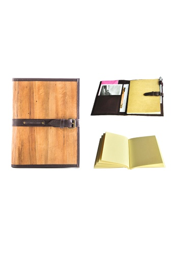Jacinto and Lirio brown Pacem II Medium Blank Refillable Vegan Leather Journal 67391HLED4A96DGS_1