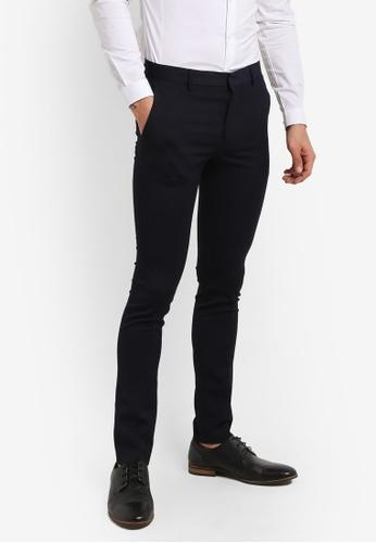 Topman blue Navy Ultra Skinny Fit Smart Trousers TO413AA0RFPFMY_1