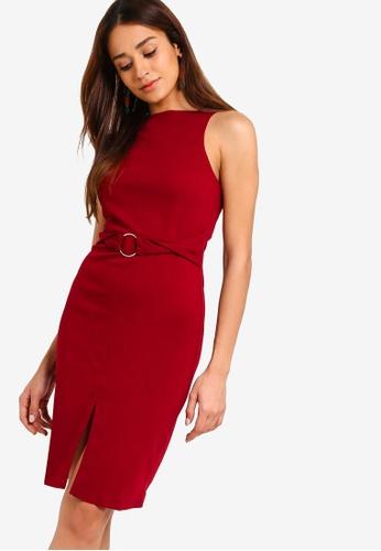 ZALORA red Cut In Sheath Knit Dress 024B0AAFD34754GS_1