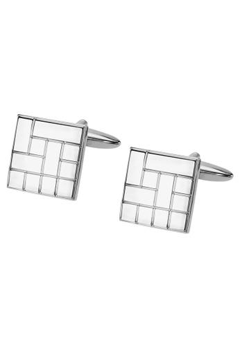 CUFF IT silver Silver Ectched Pattern Square Cufflinks D7F91ACB2D8792GS_1