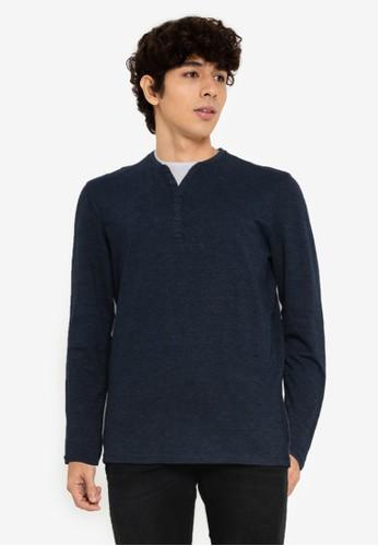 Springfield navy Long Sleeves Piqué T-Shirt 8F767AA04A4016GS_1