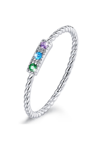 925 Signature silver 925 SIGNATURE Solid 925 Sterling Silver Cubic Zirconia Tricolour Crystals Twist Ring 39857AC586B481GS_1