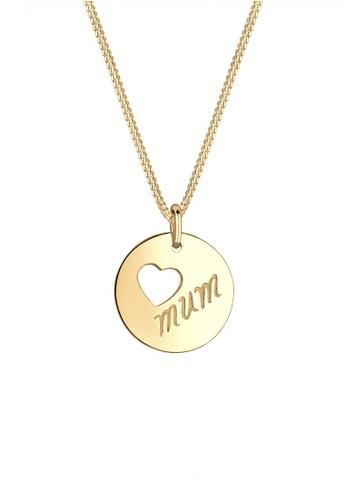Elli Germany gold Perhiasan Wanita Perak Asli - Silver Kalung Heart Coin Wording Mum Gold Plated EL948AC35XRWID_1