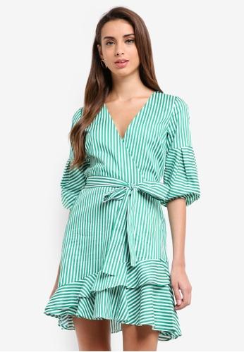 River Island green Riley Waisted Dress 62B1EAA32F1F93GS_1