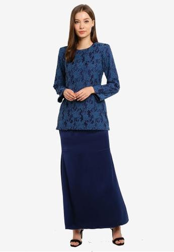 Butik Sireh Pinang blue Baju Kurung Moden Elena 8C397AA78EC1A5GS_1