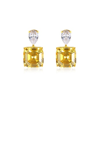 Glamorousky white 925 Sterling Silver Plated Gold Simple Bright Geometric Square Stud Earrings with Yellow Cubic Zirconia 13207ACE10CF0EGS_1