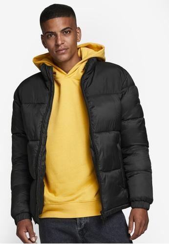Jack & Jones black Rew Puffer Collar Jacket 19F8CAA472E90CGS_1